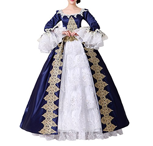 othic Victorian Prinzessin Kleid Halloween Fancy Dress Cosplay Kostüm Party Maxi Kleid (40, CC3032B-NI) (Halloween Kostüme Fancy,)