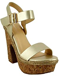 Ideal Shoes - Sandales à plateforme nacrées Hermione