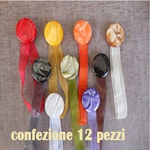 TrAdE shop Traesio Set 12Magnete LEGATENDA Feste Farbige Vorhänge Rund Durchmesser 4cm