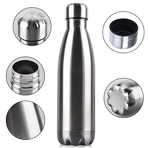 GUZI 445 ml isolierte Wasserflasche Cola Form Thermos doppelwandig Vakuum Edelstahl Flasche auslaufsicher hält heiße und kalte Getränke für Outdoor-Sport Camping Wandern Radfahren (Heißes Getränk-flasche)