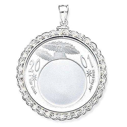 Sterling Silver 39,4 x 3,1 millimetri 1 oncia Argento corda Città Coin lunetta Pendant