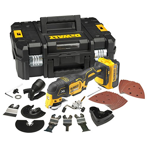 The Dewalt DCS355M1-GB Cordless Oscillating Multi-Tool is one of, if not the best oscillating multi-tool in the market today. It is an absolute precision tool with a variety of accessories which can be used for endless applications.