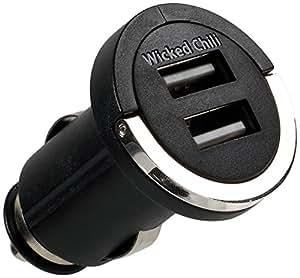 Wicked Chili 2100mA / 10,5 W Dual USB KFZ Adapter (universal für Sony, Nokia, LG, HTC, Motorola, Wiko, Huawei, Blackberry, Samsung, TomTom, Smartphone, Tablet und Navi - 12V/24V, 2x USB)