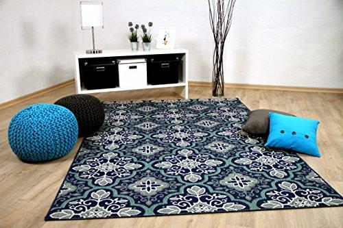 Preisvergleich Produktbild In & Outdoor Teppich Flachgewebe Carpetto Fliesenoptik Blau in 4 Größen
