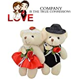 Meanhoo 2 Pcs 4.7 Inch Stuffed Plush Wedding Dress Love Bear With Flowers Animal Gift Toy For Lover