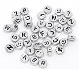 SiAura Material ® - 50 Stück Acryl Perlen Buchstaben Mix A-Z Grau Durchmesser 7mm