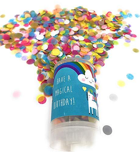 Magisches Einhorn Geburtstagswünsche, Konfetti Pop, Feier, Mädchen Geburtstag Dekoration. Konfetti Popper Mädchen Party