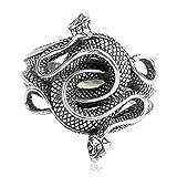 Epinki Plata de Ley 925 Punk Rock Vintage Gótico Dos Serpiente Anillo para Hombre Tamaño 16