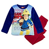 Feuerwehrmann Sam - Kinder Jungen Pyjama Schlafanzug Teddy Vlies 98-128, Größe:104, Farbe:Rot
