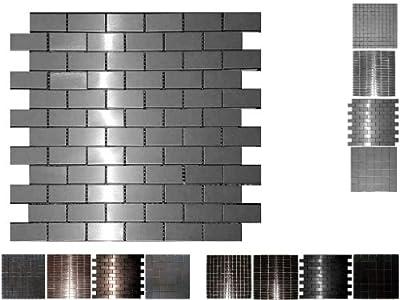 1 Netz. Edelstahl Mosaik Silverstar Brick von Mosaikdiscount24 auf TapetenShop