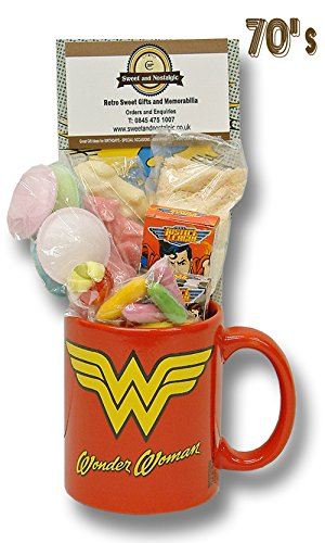 Wonder Woman Logo Mug with a lush selection of 70's retro sweets 630gms
