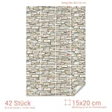 GRAZDesign Bad Folie Fliesen Steinmauer - Fliesendekor Stein Mauer Optik - Fliesenaufkleber Küche & Bad Hellbraun / 15x20cm (BxH) / 767080_15x20_90