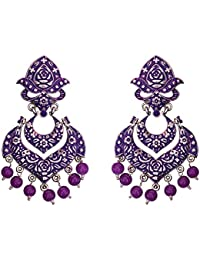Meenakari German Silver Plated Double Layer Chaand Bali Brass Jhumka Earring Set