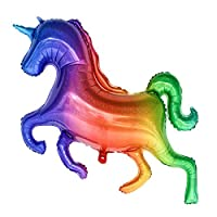 Party R Us Giant Rainbow Unicorn, Large Rainbow Unicorn Foil Balloon (136cm or 53inch)