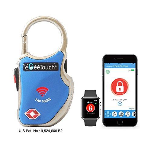 eGeeTouch® NFC Gepäckschloss, GT1000-93 (blau), TSA & IATA konform, mit patentierter dualer Zugriffstechnologie (NFC + Bluetooth), Entfernungswarnung usw.