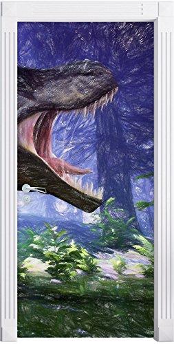 T-Rex Dinosaurier im Wald Kunst Buntstift Effekt als Türtapete, Format: 200x90cm, Türbild,...