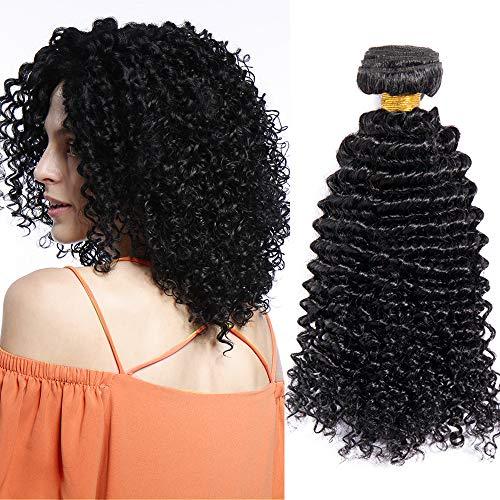 Extension capelli veri ricci tessitura umani brazilian virgin human hair curly 100% remy 1 bundle nero naturale - 25cm 100g