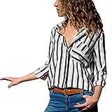 MYMYG Damen Blusen Streifen v Ausschnitt Hemd Oberteile Langarmshirts Blusen Casual Sommer Langarm mit Knopf Tunika (G1-Schwarz,EU:42/CN-L