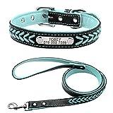 Berry Weich geflochtenes Hundehalsband aus echtem Leder, Halsband mit Hundemarke und Leine ca. 120 cm.