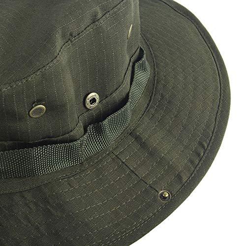 Trifycore Cap Safari protección UV Impermeable Caza al Aire Libre del Sombrero de Sun del Verano Sombrero de Boonie de Guerra Juego, Deportes, Pesca de Color Gris Oliva, Caza Sombrero al Aire Libre
