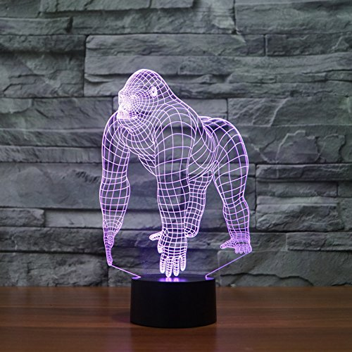 3d Illusion Lamp jawell Night Light Chimpanzee 7Changing Colors Touch USB Table...