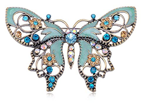 Alilang Antique Golden Aquamarine Blue Colored Rhinestones Butterfly Brooch