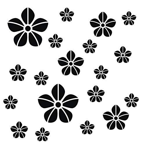 Fenster-schwarz-glas-tür (kleb-Drauf®   19 Blumen   Schwarz - matt   Wandtattoo Wandaufkleber Wandsticker Aufkleber Sticker   Wohnzimmer Schlafzimmer Kinderzimmer Küche Bad   Deko Wände Glas Fenster Tür Fliese)