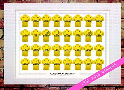 MOUNTED TOUR DE FRANCE WINNERS 1951 - 2013 EVERY RIDER RACER YELLOW JERSEY (1 OF 2) SIGNED A4 MOUNT WITH PRINTED AUTOGRAPHS MOUNTED PHOTO PRINT PHOTOGRAPH AUTOGRAPHED SIGNATURE POSTER ART ARTWORK GIFT PRESENT XMAS CHRISTMAS BIRTHDAY NEW CHRIS FROOME BRADLEY WIGGINS CADEL EVANS ANDY SCHLECK ALBERTO CONTADOR by www.MountedGifts.co.uk