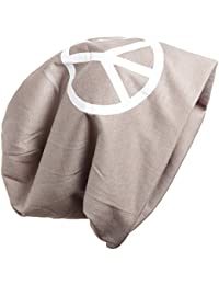 BRUBAKER Damen oder Herren Slouch Beanie Baumwolle mit Motiv Peace als großem Print