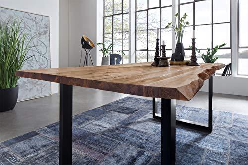 SAM Möbel Outlet Esstisch Baumkante, 120x80 cm, NOAH, Akazie, Natur, U-Gestell schwarz