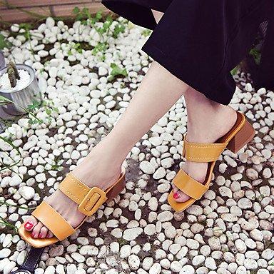 LvYuan Da donna Sandali PU (Poliuretano) Primavera Estate Quadrato Beige Giallo 5 - 7 cm Yellow
