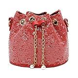 Yeshai3369 Mini borsa secchiello, borsa con tracolla coulisse in paillettes lucide con paillettes per bambina