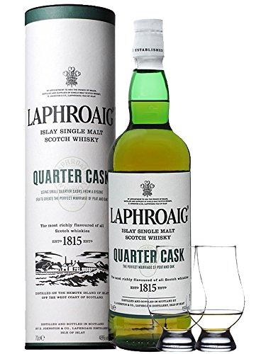 Laphroaig Quarter Cask Islay Single Malt Whisky 0,7 Liter + 2 Glencairn Gläser