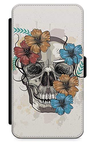 iPhone 5s, iPhone SE Case Zuckerschädel Blumen | Kunstleder Brieftasche Flip Card Slot Cover Kickstand | Tag Der Toten Dia De Muertos Mexikaner Kunst ()