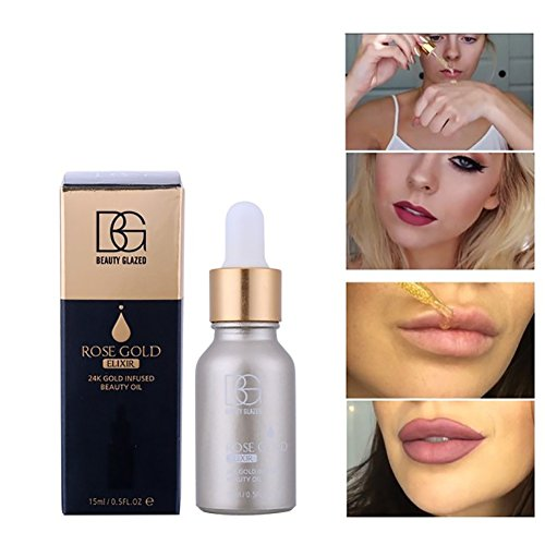 24k Rose Gold Elixir Oil, Hanyia Skin Make Up Beauty Essential Oil Before Primer Foundation Moisturizing Face Oil