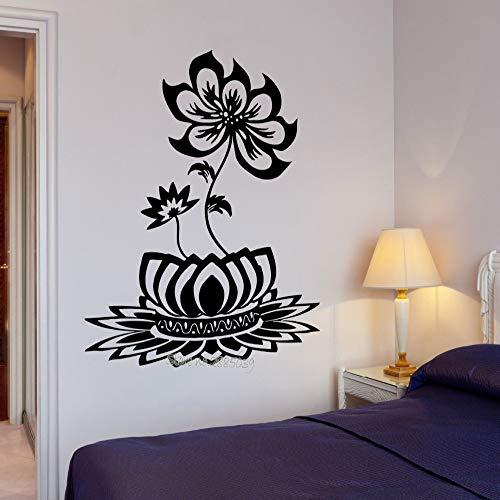 zqyjhkou Heißer Wandtattoo Buddha Blume Lotus Blossom Entspannung Decor Yoga Studio Om Zen Zone Innen Dekorative Kunst Wandbild 56x64 cm