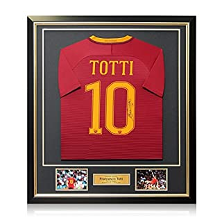 Exclusive Memorabilia AS Roma 2016-17 Heimtrikot von Francesco Totti unterzeichnet. Im Deluxe-Rahmen.