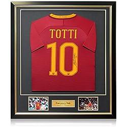 AS Roma 2016-17 Heimtrikot von Francesco Totti unterzeichnet. Im Deluxe-Rahmen.