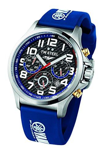 TW Steel montre à quartz pour homme avec cadran noir chronographe Affichage et sangle en silicone Bleu Tw926