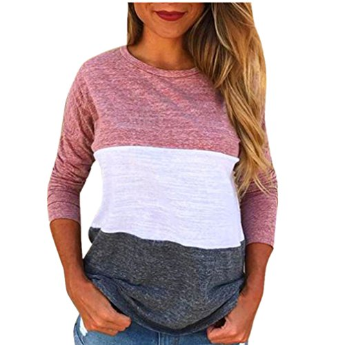 BHYDRY Mode Frauen Damen Langarm Splice Bluse Tops Kleidung T-Shirt(XL,Rosa)
