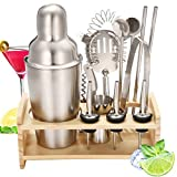 Skymore Cocktailshaker Set 13 Pcs contiene 1 tazza di agitazione, 1 filtro da cocktail, 3 pourer, 2 cucchiaio da bar, 1 Clip di ghiaccio,1 avvitatore di sughero,1 tazze di misura, 2 paglie in acciaio