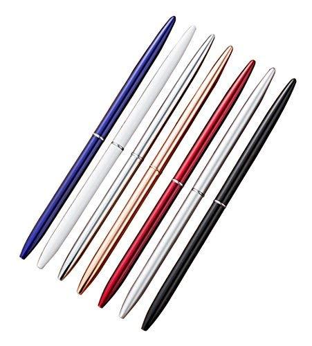 Hillento 7 PC bolígrafos, lápiz delgado bolígrafos metal ligero, equipos de oficina/hotel, la tinta negro, regalo privado o de negocios (azul, negro, oro rosa, plata, blanco, rojo y acero)