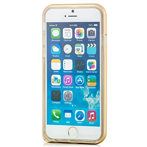 iPhone 6 / 6S Hülle Alu Rahmen mit Silikon Schutzhülle TPU Bumper Case, Transparent Pink Gold