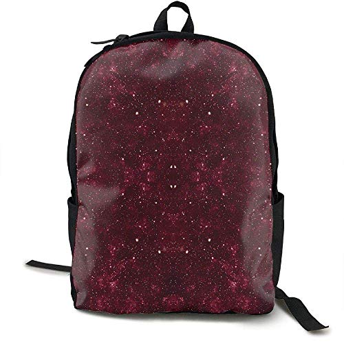 TRFashion Laptop Backpack Maroon Galaxy Computer Bag College School Backpack Women Men Rucksack Schultasche -