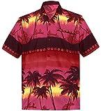 LA LEELA männer Hawaiihemd Kurzarm Button Down Kragen Fronttasche Beach Strand Hemd Manner Urlaub Casual Herren Aloha Hellrot_269 2XL Likre 1891