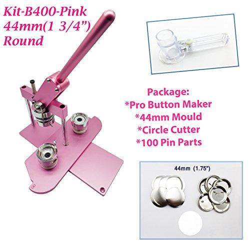 �mm (4,4cm) Pro Badge Maschine Taste Maker B400+ Werkzeug + 100Teile + Kreisschneider rose ()