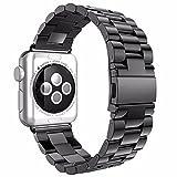 Armbänder für iWatch Uhrenarmband 38mm, AISPORTS Apple Watch Armband 38mm Edelstahl Smart Watch Ersatzband Armband Schnalle Schließe Wristband für 38mm iWatch Serie 3/2/1,Sport,Edition - Schwarz