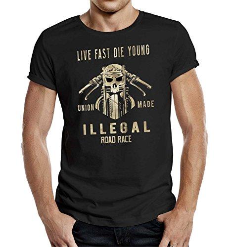 Original GASOLINE BANDIT® Biker Racer T-Shirt: Illegal Road Race. Schwarz