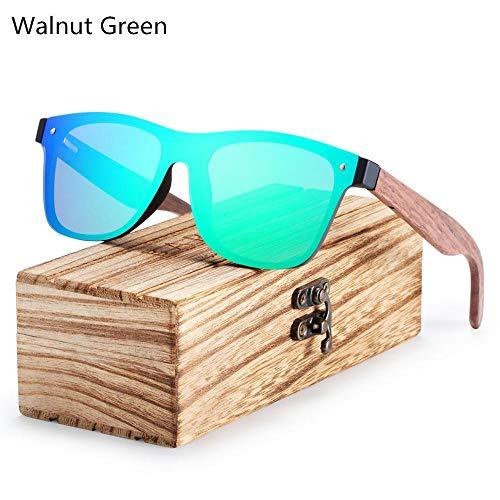 ANSKT Polarized Black Walnut Wood Sonnenbrille Men Square Damen Sonnenbrille UV400 Oculos Gafas Oculos de sol Masculino-Walnut_Green