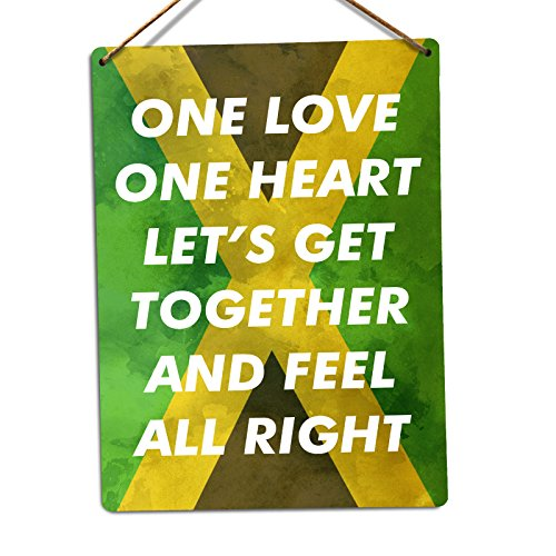 WTF | One Herz | Metall Wandschild Aufschrift Kunst, inspirierende, Sticky-Pads (Herz Marley-one Bob)